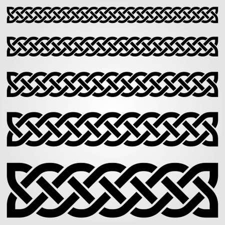 Borde de estilo celta aislado sobre fondo blanco. Ilustración vectorial