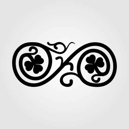 Vintage floral swirl design element. Vector illustration