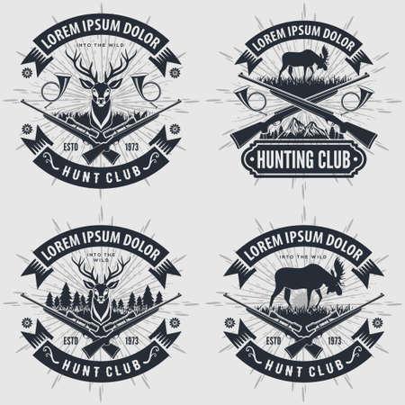 Conjunto de club de caza de estilo vintage, etiquetas, insignias o emblemas. Ilustración vectorial