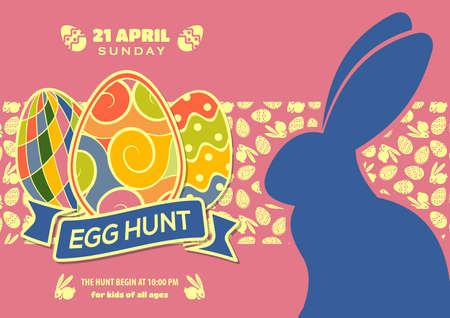 Easter Egg Hunt poster or invitation design with eggs and cute bunny.  Vector illustration.