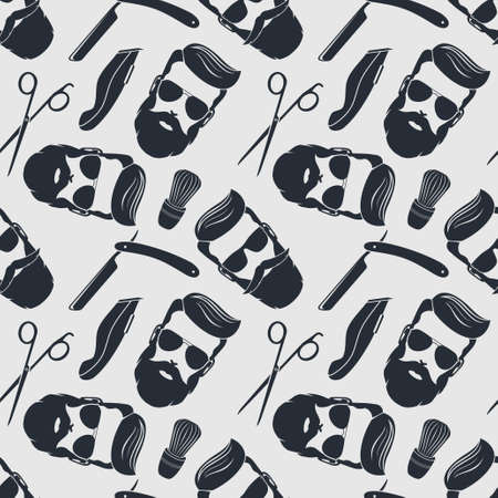 Barbershop background, seamless pattern with hairdressing scissors, razor and hipster face. Vector illustration