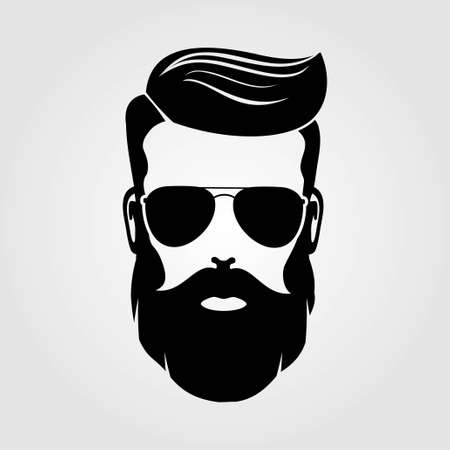 Bearded men, hipster face. Fashion silhouette, emblem, icon, label. Vector illustration. Vectores