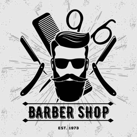 Barbershop vintage label, badge, or emblem. Vector illustration.