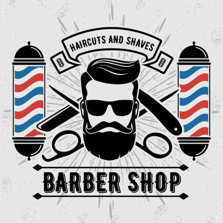 Barbershop with barber pole in vintage style. Vector template.