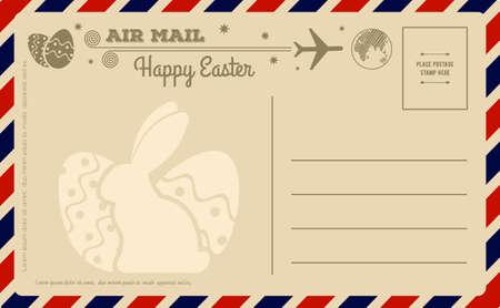 Vintage Happy Easter Postcard. Vector illustration. Vector Illustration