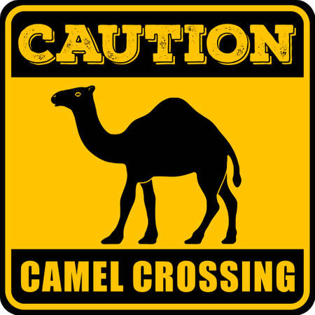 Road sign - Attention Animal, Camels Crossing. Vector illustration.