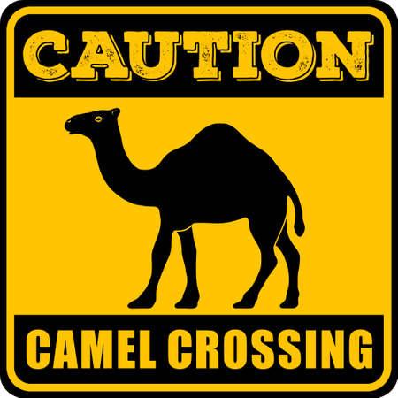 Verkehrsschild - Achtung Tier, Kamele überqueren. Vektor-Illustration.