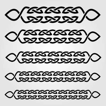 Bordo in stile celtico isolato su sfondo bianco. Illustrazione vettoriale.