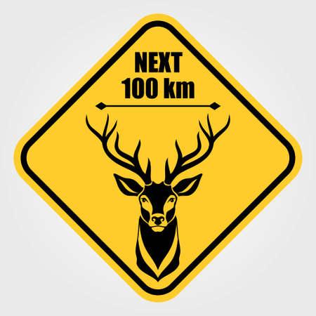 Road sign - Attention Animal, Wild Deer Crossing. Vector illustration. Ilustrace