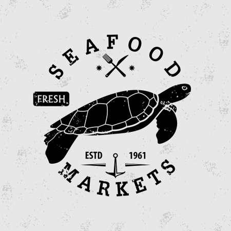 Restaurante de mariscos con tortuga marina. Diseño de placa vintage. Ilustración vectorial.