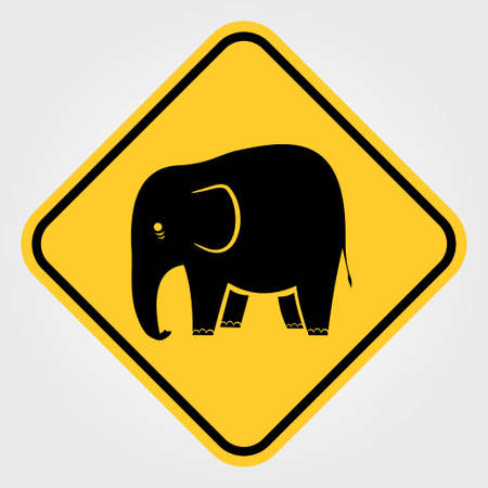Road sign - Attention Animal, Elephant Crossing. Vector illustration. Ilustração