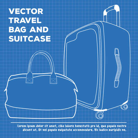 Blueprint of Suitcase or travel luggage and travel bag isolated on white background. Vector illustration.