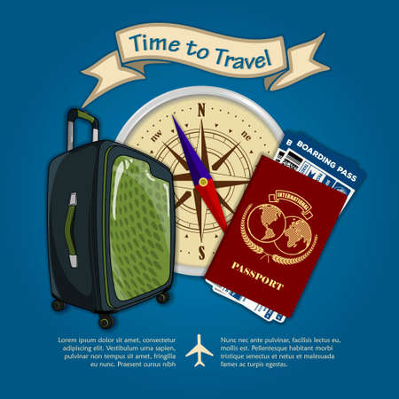Time to travel. Travel luggage, international passport and boarding passes tickets for traveling by plane. Concept for travel and vacations. Vector illustration