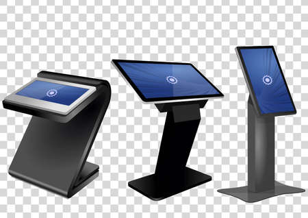 Three Promotional Interactive Information Kiosk, Advertising Display, Terminal Stand, Touch Screen Display isolated on transparent background. Mock Up Template. Vectores