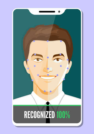 Facial recognition system concept. Biometric verification. Vector illustration.