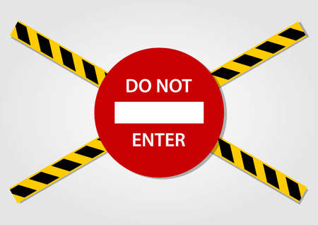 Do not enter Sign and Caution tapes isolated on white background. Vector illustration. Фото со стока - 122202639