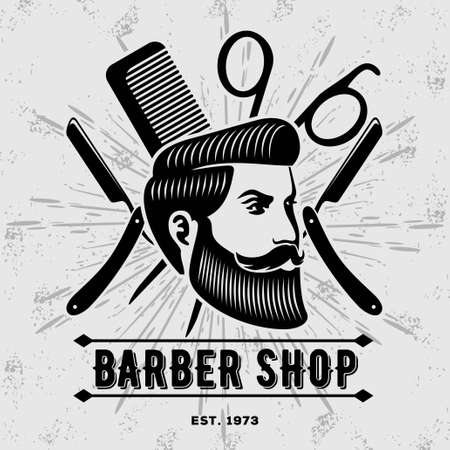 Barber shop vintage label, badge, or emblem. Vector illustration.