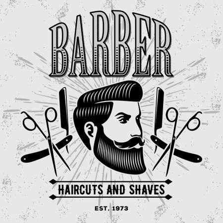 Barber shop vintage label, badge, or emblem. Vector illustration.