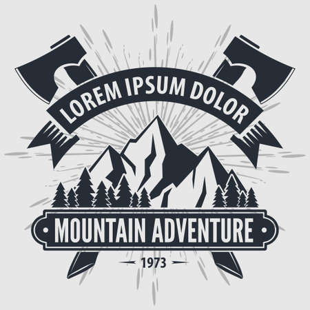 Mountain Adventure vintage label, badge, emblem. Vector illustration. Vectores