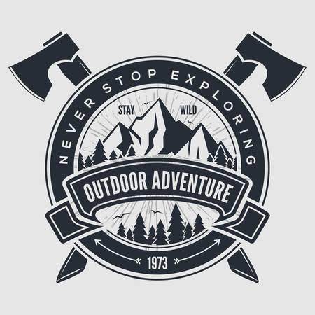 Outdoor-Abenteuer-Vintage-Label, Abzeichen, Emblem. Vektor-Illustration.