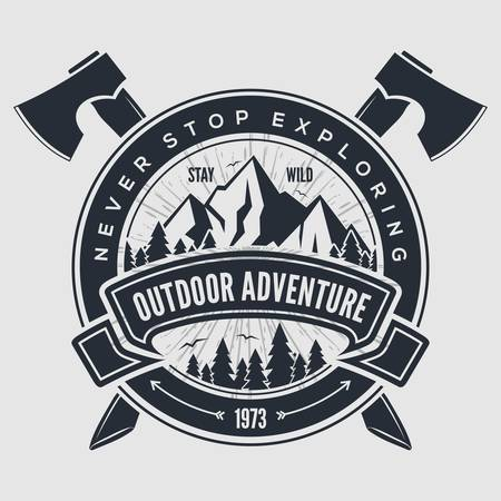 Outdoor Adventure vintage label, badge, emblem. Vector illustration. Vectores