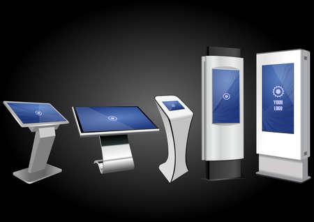 Cinco quiosco de información interactivo promocional, pantalla publicitaria, soporte terminal, pantalla táctil. Plantilla de maqueta.