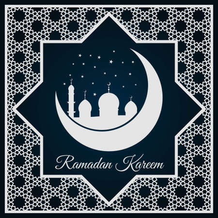 Ramadan Kareem greeting card or banner with Mosque silhouette on crescent moon and Arabic ornament, Islamic pattern. Vector illustration. Illustration