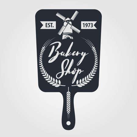 Bakery or bread shop logo, emblem in vintage style. Vector illustration Illusztráció
