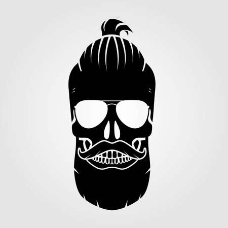 Hipster skull with mustache and bread. Vector illustration. Vettoriali