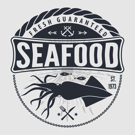 Etichetta, distintivo, emblema o logo di frutti di mare per ristorante di pesce, elemento di design del menu. Illustrazione vettoriale Logo