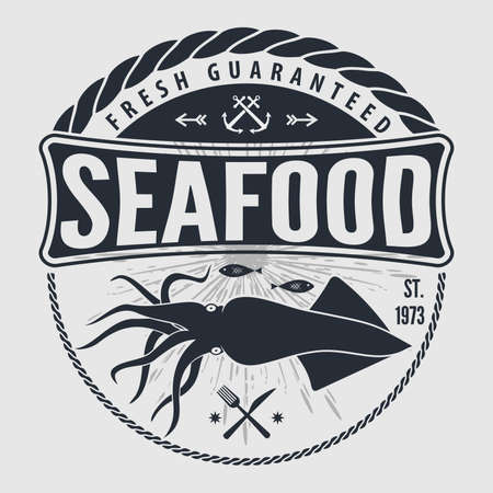 Seafood label, badge, emblem or logo for seafood restaurant, menu design element. Vector illustration Logo