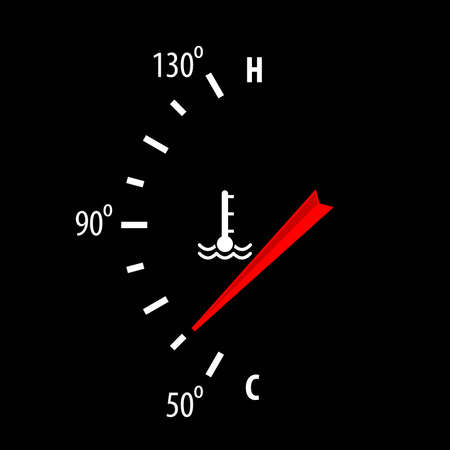 Car engine temperature gauge icon isolated on black background. Vector illustration.