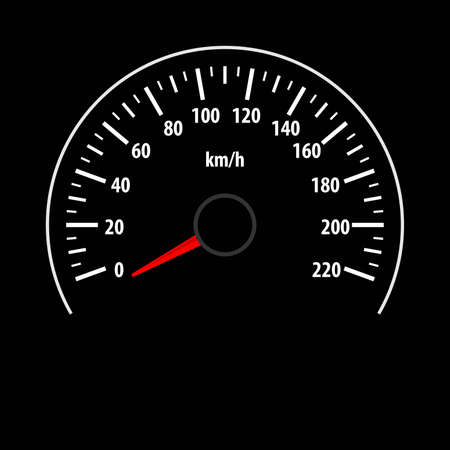 Speedometer gauge isolated on black background. Vector illustration.