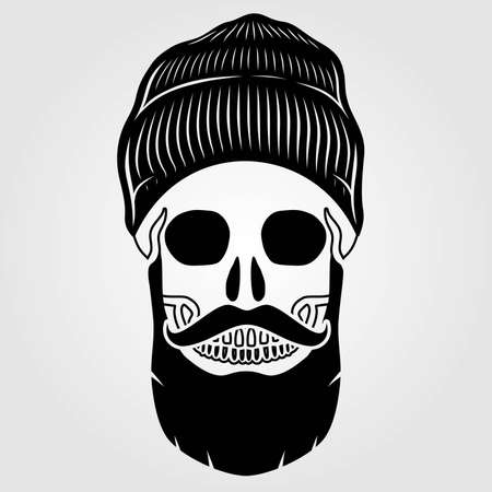 Hipster skull with mustache and bread. Vector illustration. Illustration