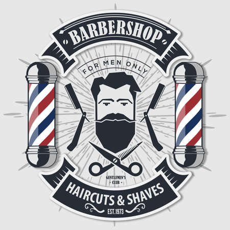 Barber shop vintage label, badge, or emblem. Vector illustration