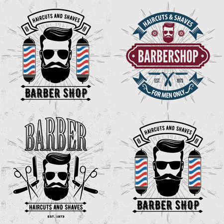 Set of vintage Barber Shop labels, emblems or badges. Vector illustration