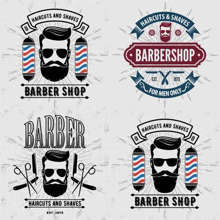 Set of vintage Barber Shop labels, emblems or badges. Vector illustration