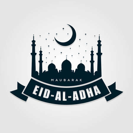 Muslim Festival of Sacrifice Eid-Al-Adha Label, Icon or Sign Isolated on white background. Vector illustration.