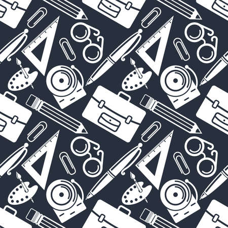 Back to school seamless pattern. Science, education objects and office supplies. Vector illustration