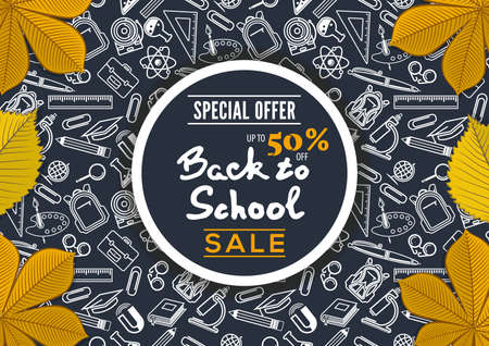 Back to School Sale poster, banner template with autumn leaves. Vector illustration Ilustracja