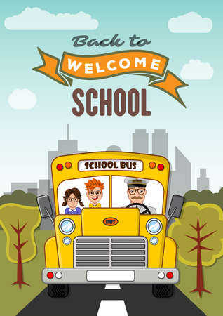 Welcome Back to School poster, banner template with School Bus. Vector illustration Ilustracja