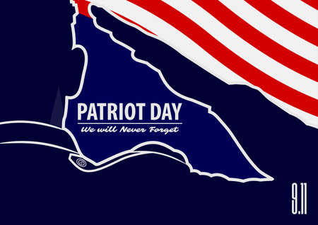 Patriot day poster template. US Army soldier saluting on american flag background. Vector illustration.  イラスト・ベクター素材