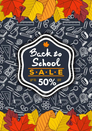 Back to School Sale poster, banner template with autumn leaves. Vector illustration  イラスト・ベクター素材