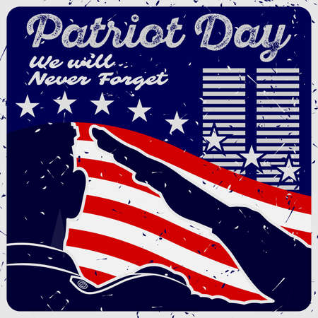Patriot day poster template. US Army soldier saluting on american flag background. Vector illustration. Çizim