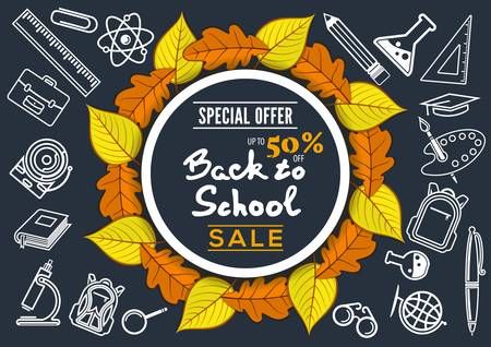Back to School Sale poster, banner template with autumn leaves. Vector illustration Çizim