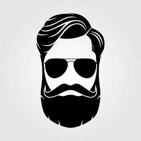 Bearded men, hipster face. Fashion silhouette, emblem, icon, label. Vector illustration. Çizim