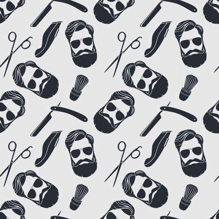Barbershop seamless pattern with hipster face, hairdressing scissors and razor. Vector illustration.
