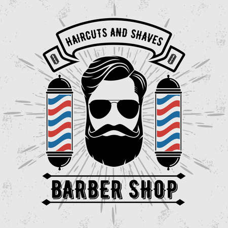 Barber shop poster, banner template with hipster face. Vector illustration Çizim