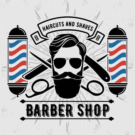 Barber shop poster, banner template with hipster face. Vector illustration