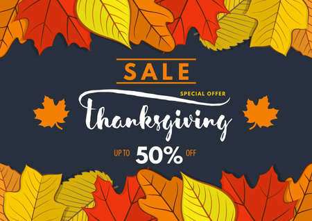 Thanksgiving day Sale poster, banner template with autumn leaves. Vector illustration Çizim